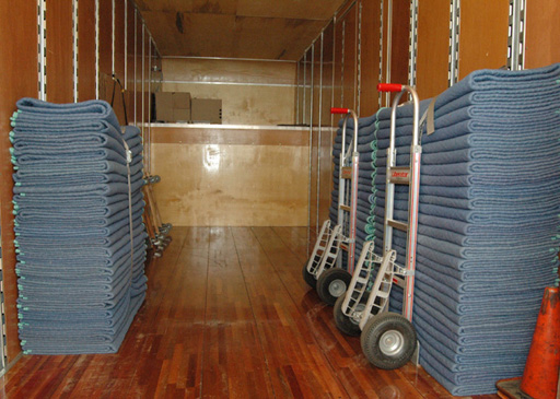 All of our moving trucks are equipped with heavy-duty moving blankets.