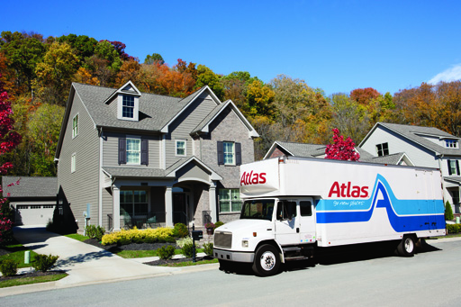 Atlas moving truck delivering from storage