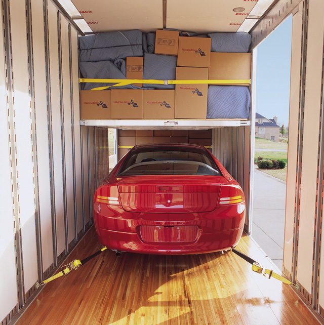 A vehicle which has been loaded in an enclosed trailer