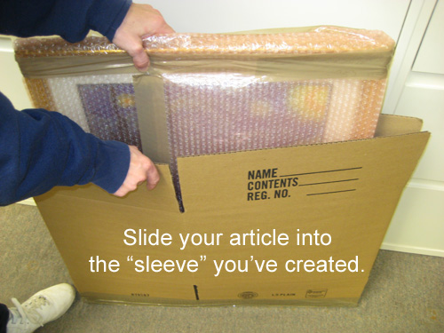 Slide the article into the sleeve you have created