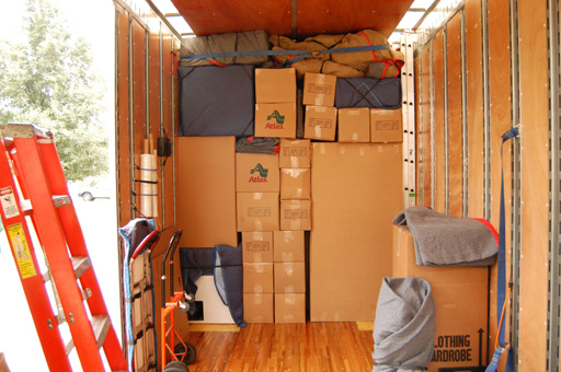Inside view of our moving truck