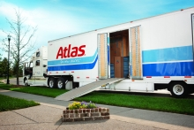 Atlas Van Lines trailer ready for loading at residence