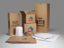 An assortment of Atlas Van Lines packing materials