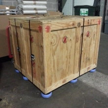A crated sensitive high-value shipment ready to be flown to Hong Kong