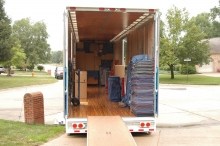 Loading a trailer at a customer's residence