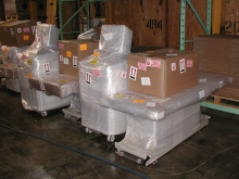 Medical equipment products wrapped and staged at our Long Island warehouse