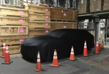 A new concept car staged at Avatar's warehouse for delivery to the New York Auto Show