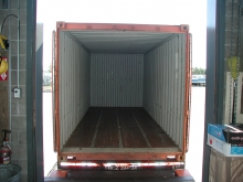 20-foot steel overseas container at the loading dock