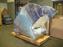 Packing Josephine Meckseper's pump jack art exhibit for transport to Europe