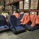 Final mile exercise machinery staged at our warehouse for delivery to local gymnasiums