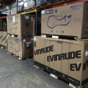 New outboard motors placed into temporary storage at our warehouse