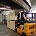 Moving exhibit and display crates from our trucks and into our warehouse