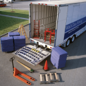 Equipment carried on an Atlas Van Lines air-ride special products trailer